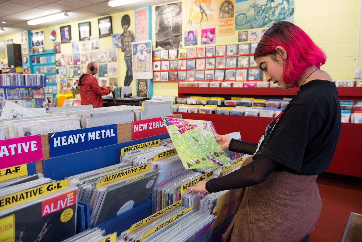 Old meets new with the variety of CDs, DVDs, and records sold at Slow Boat Records ...