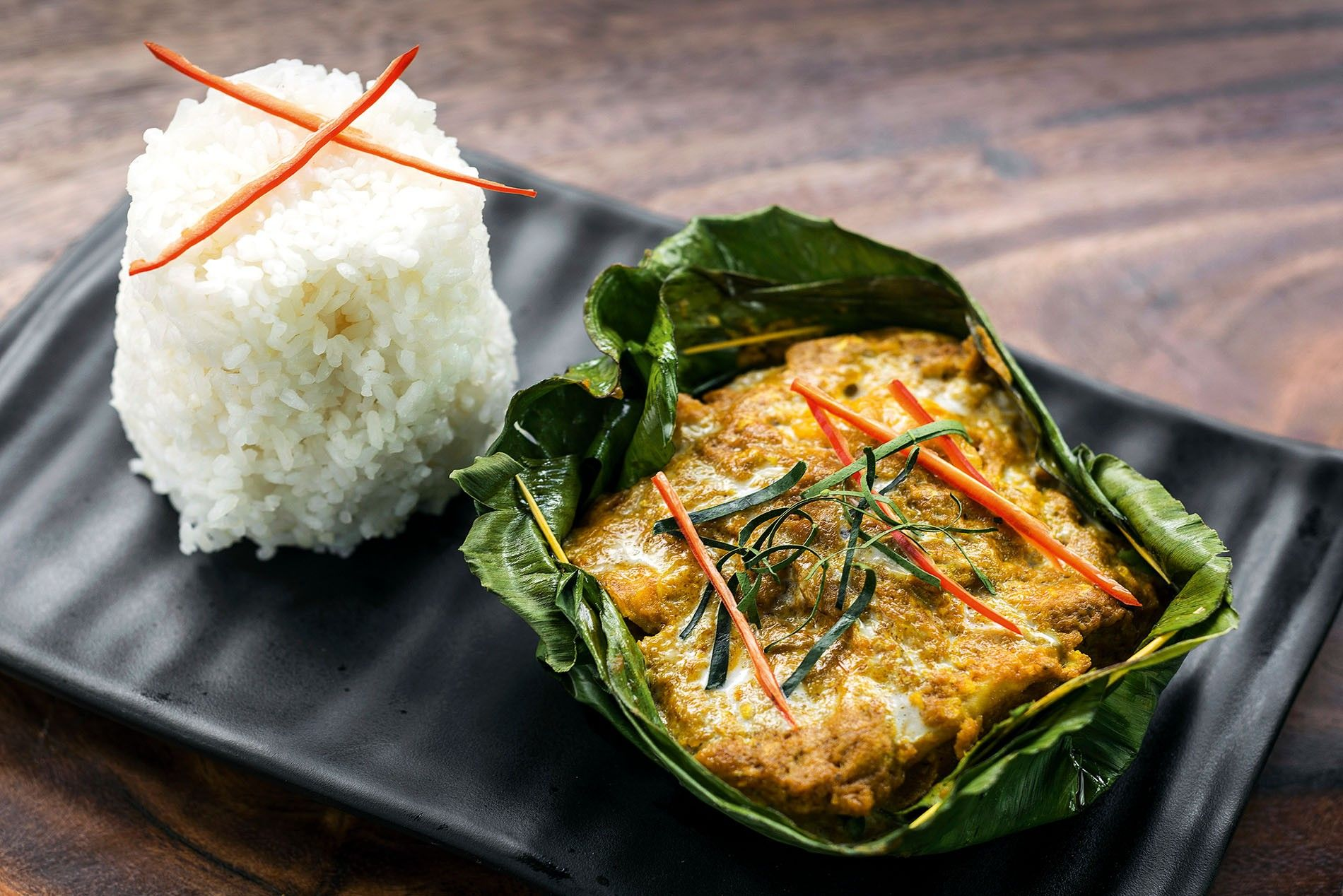 Fish amok, the Cambodian dish served on special occasions.