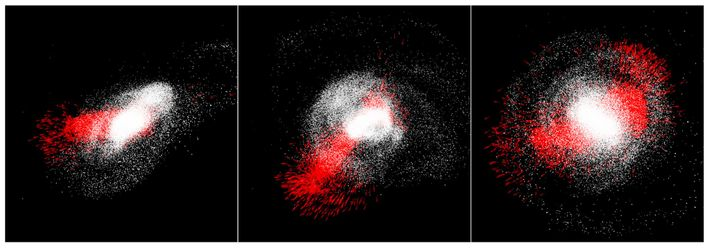 The Milky Way (white) gobbles up the dwarf galaxy Gaia-Enceladus (red) in scenes from a computer ...
