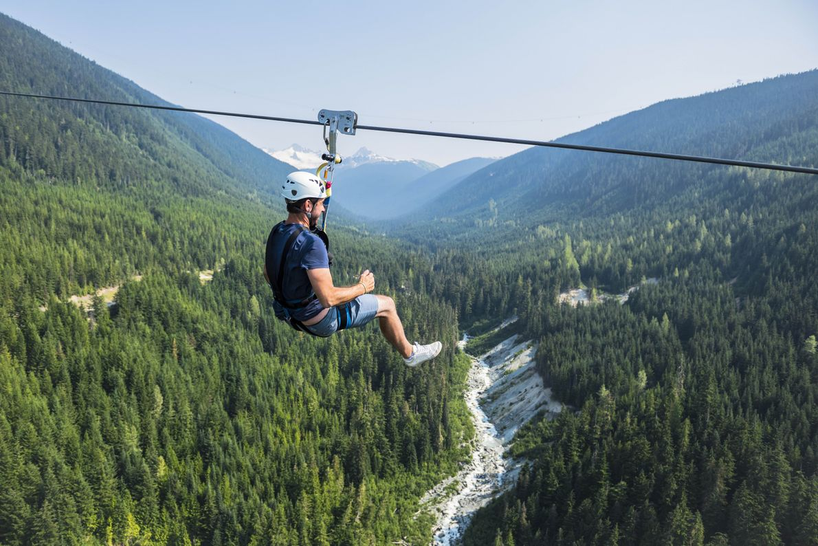 Experience the exhilarating feeling of soaring over Whistler's stunning valleys.