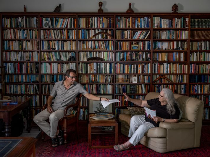 Glenn Albrecht and his wife, Jill, sit for a photo in their Hunter Valley home. Glenn ...