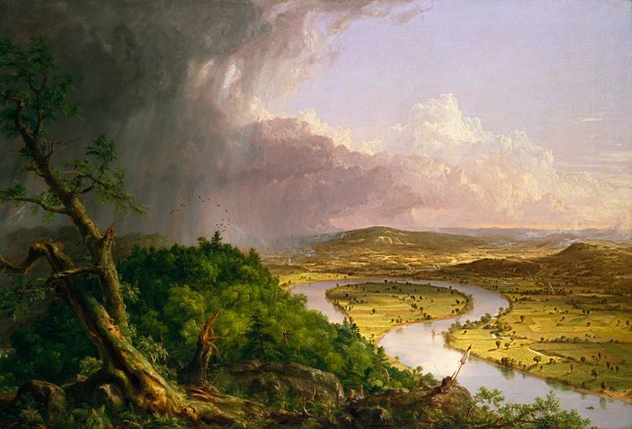 "In ""The Oxbow,"" 19th-century painter Thomas Cole depicted a Massachusetts river valley stripped of trees. In ..."