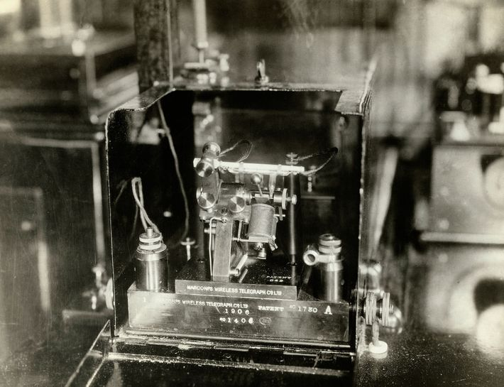 A component of the Marconi telegraph aboard the RMS Carpathia, which rescued Titanic's survivors.