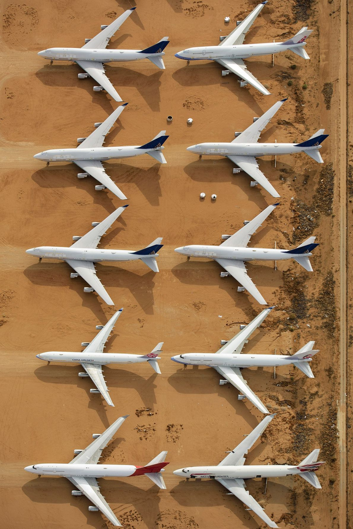The airport also stores retired planes, now used for parts replacement and scrap metal.
