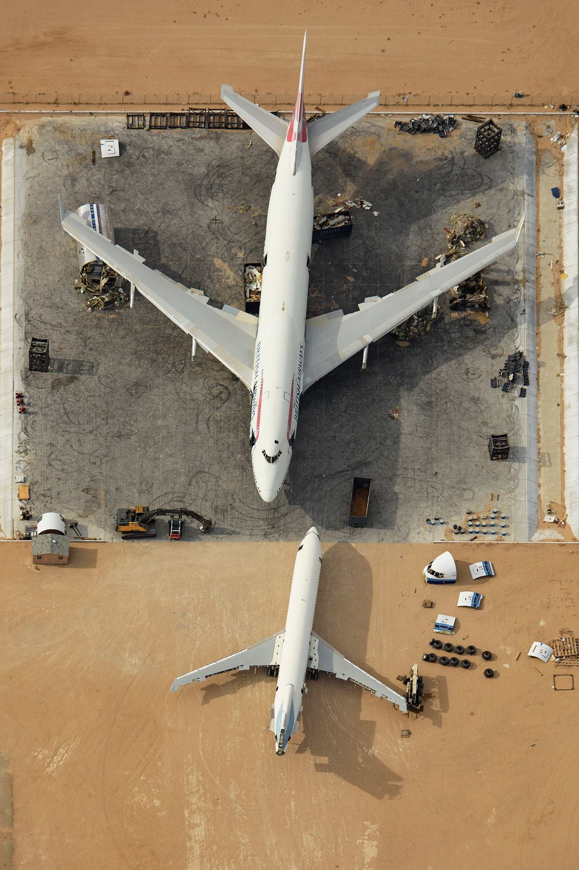 A decommissioned Boeing 747 sits at the Southern California Logistics boneyard in California. The plane will ...