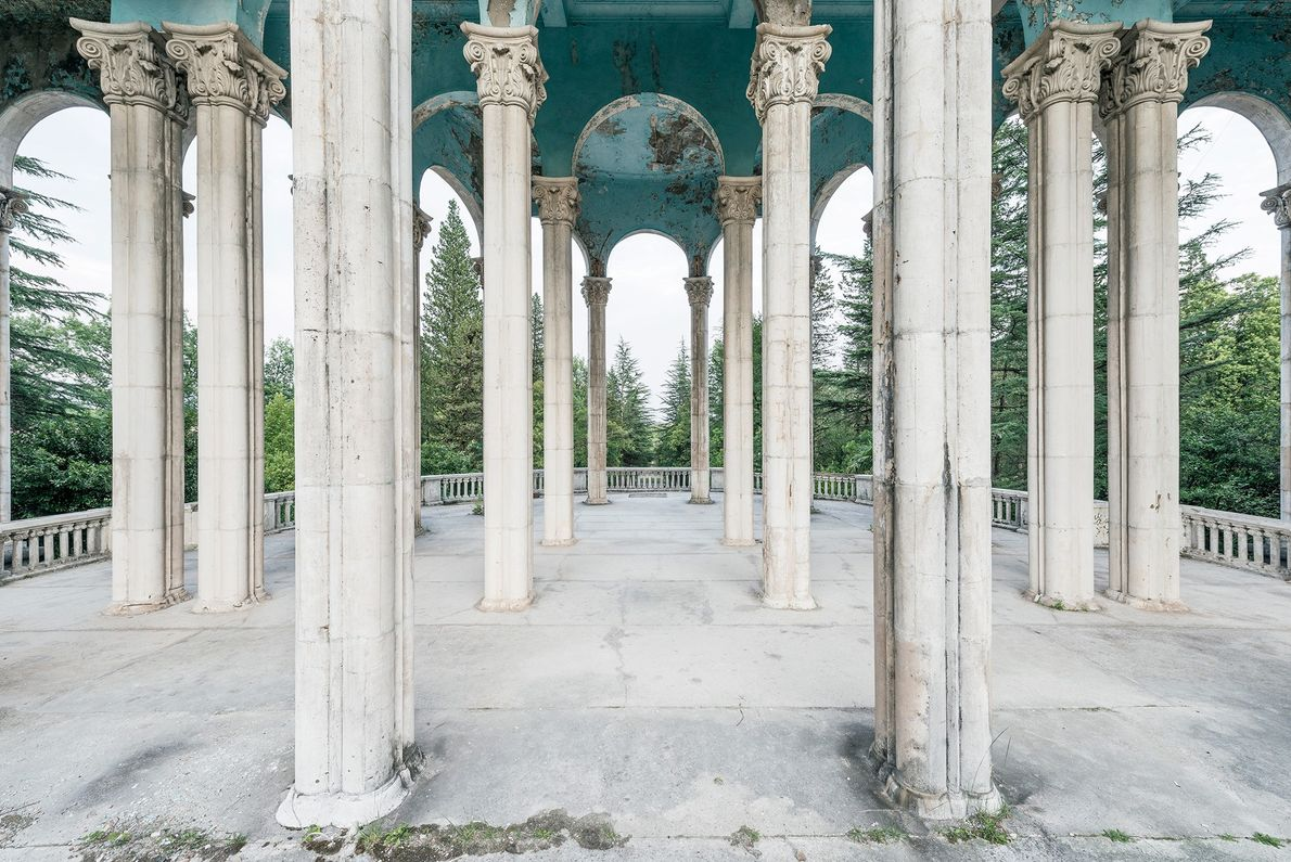 Monumental arches adorn this open gallery of a former sanatorium.
