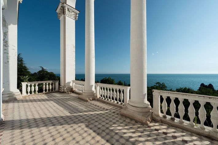 This terrace looks out to the Black Sea in Gagra, Georgia.