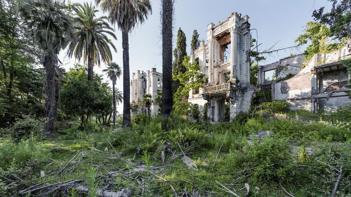 The remains of a sanatorium alongside the Russian Riviera in Sokhum, Georgia.