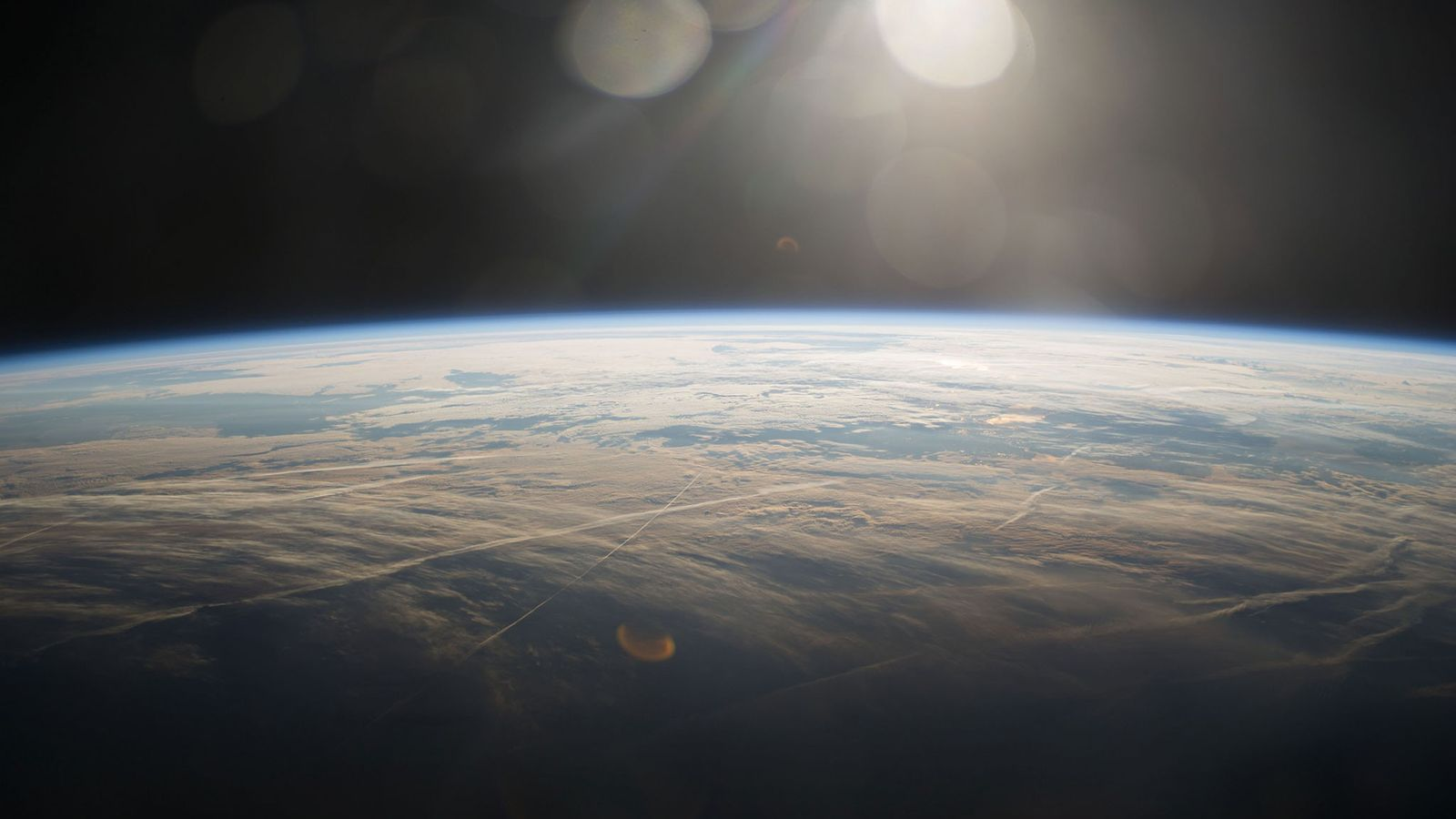 A sunrise over the blue planet taken from the International Space Station.