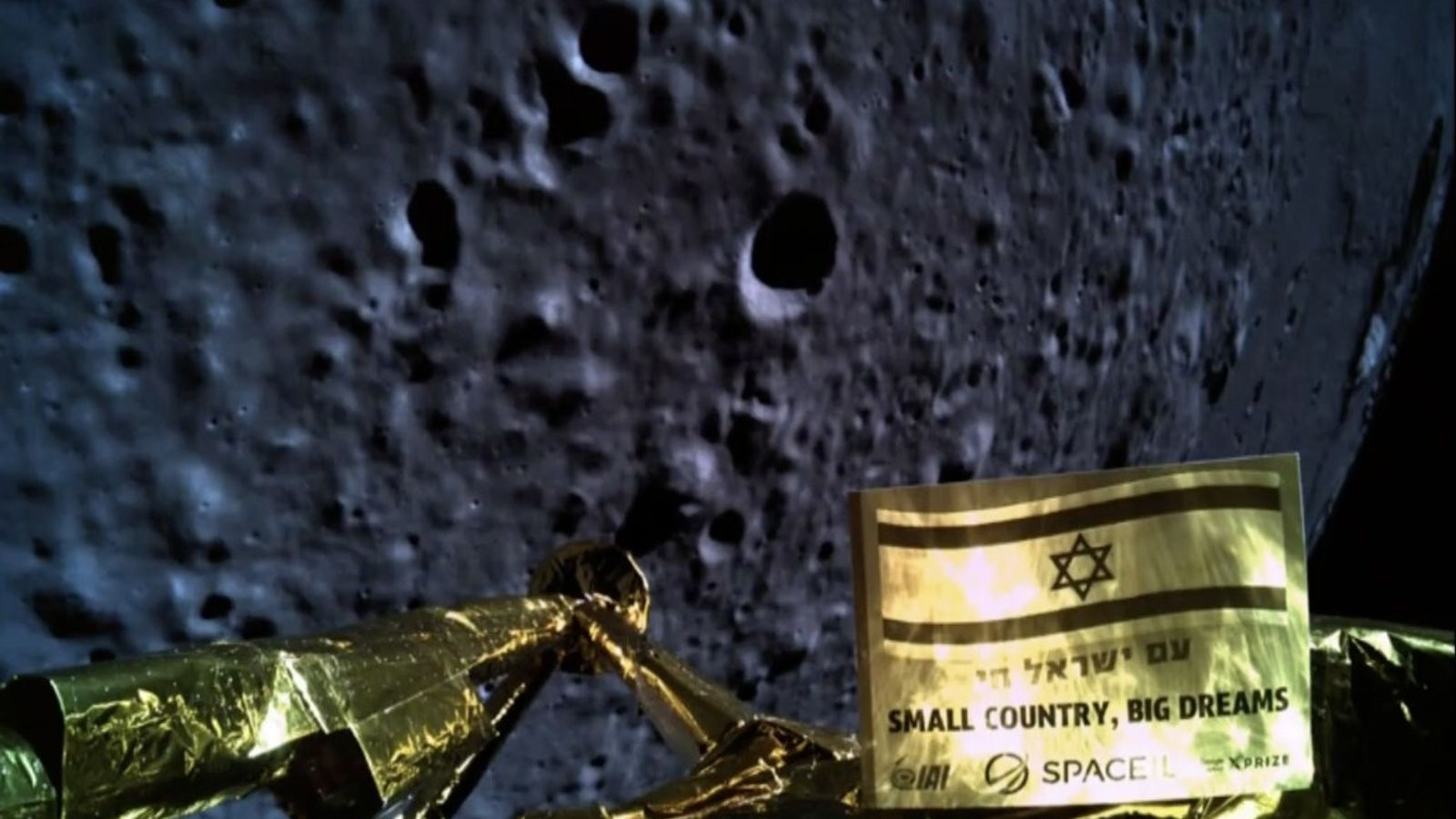 Moments before crashing on the moon's surface, SpaceIL's Beresheet lander took this picture of its descent. ...