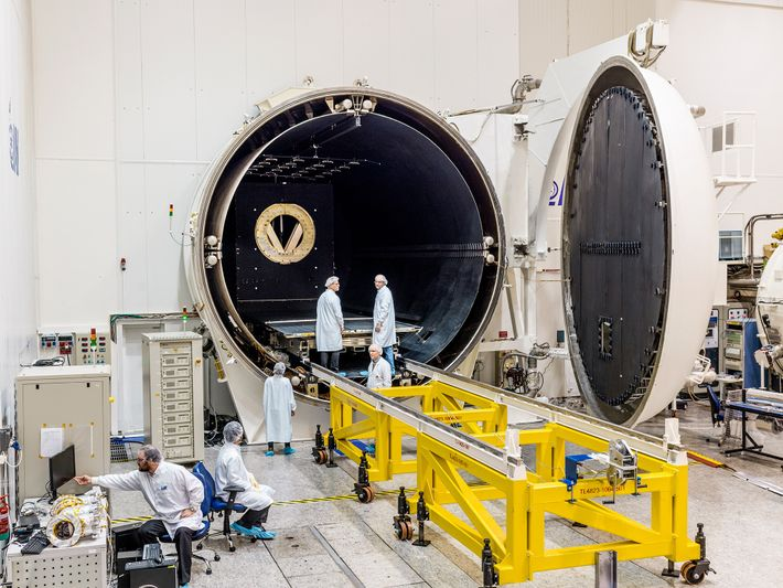 At SpaceIL's facility near Tel Aviv, a thermal vacuum chamber creates the same intense heat the ...