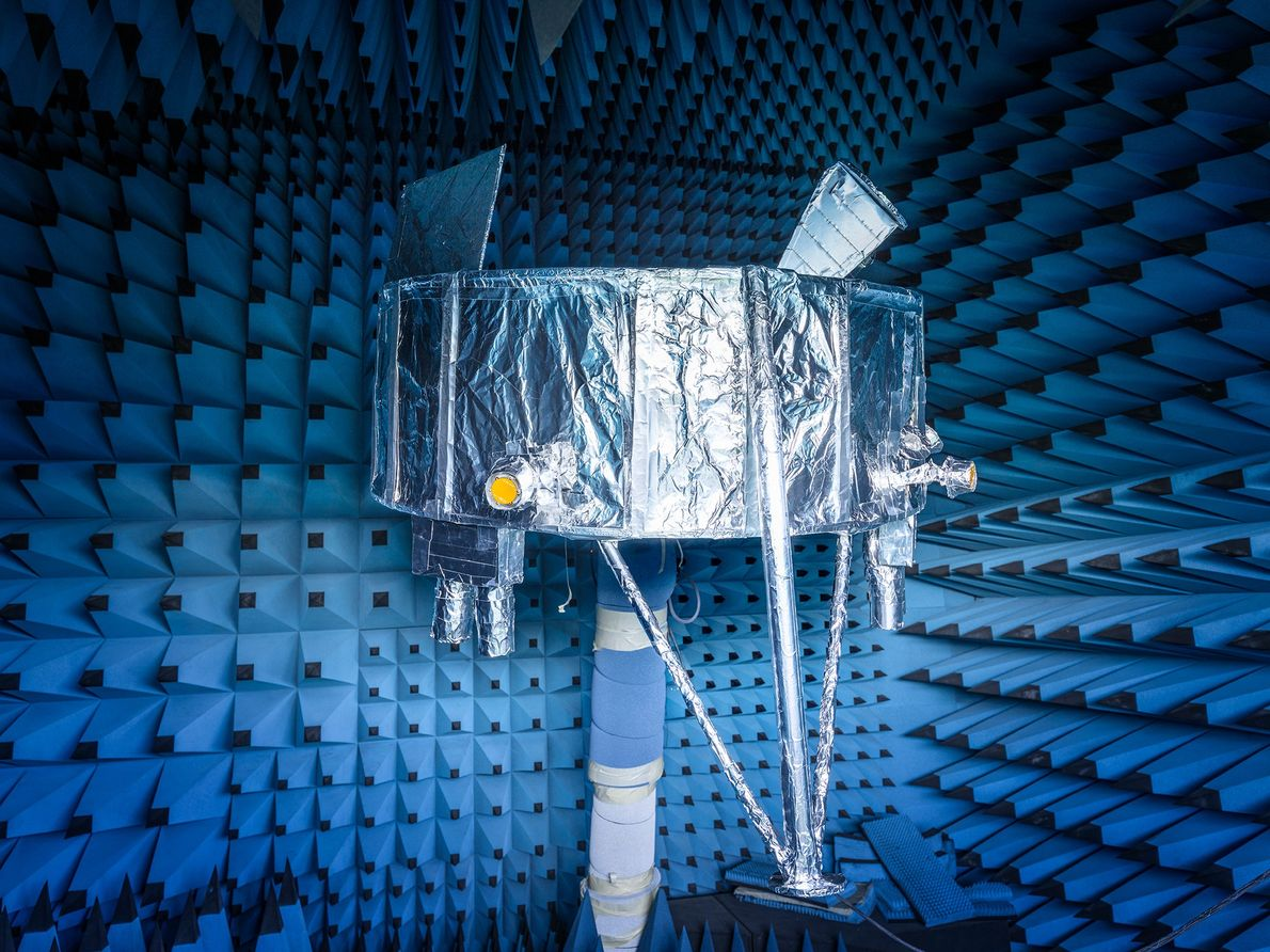 A partial model of SpaceIL's Beresheet lander rests in an echo-free chamber that absorbs electromagnetic waves, ...