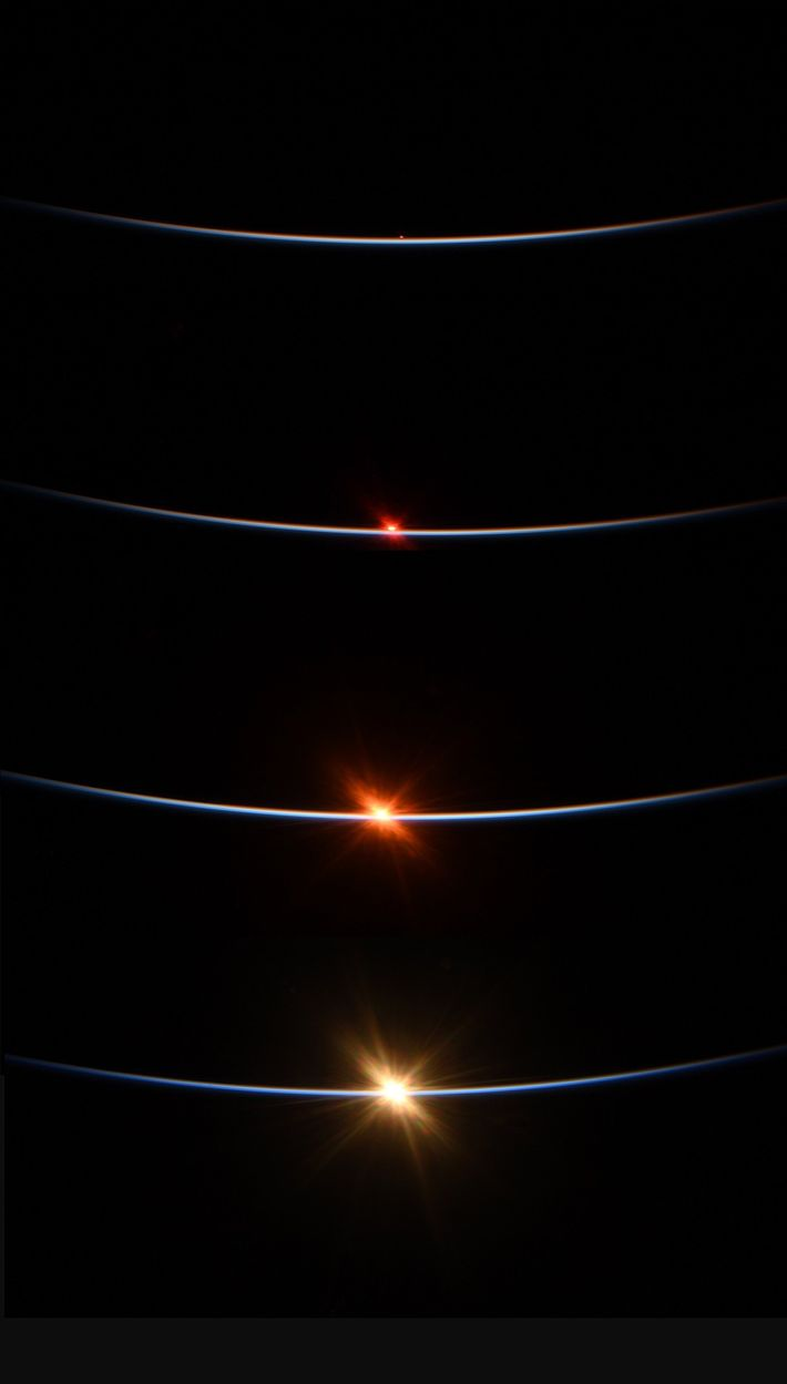 Behnken captured the sunrise from the ISS on July 27 in this four-photo sequence. The space ...