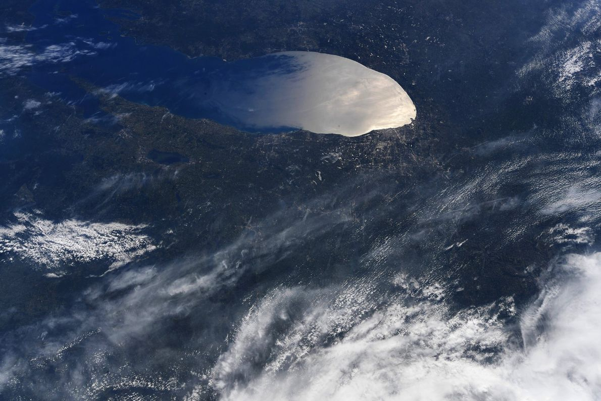 """""""Beautiful sun glint on the southern portion of Lake Michigan,"""" Hurley tweeted with this photo taken ..."""