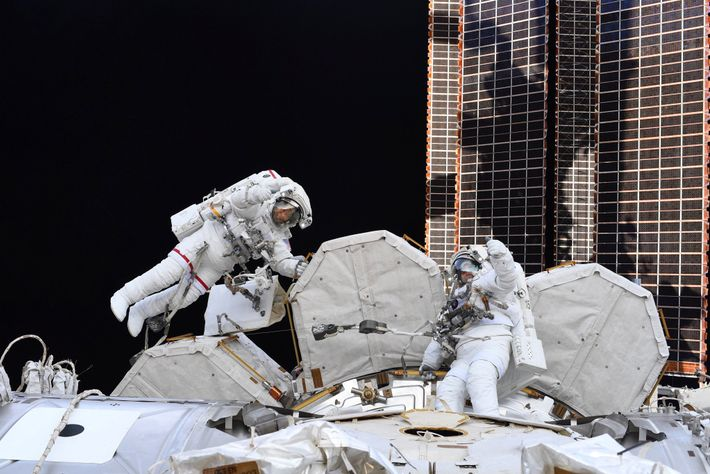 """""""Two of the best ever spacewalkers [Bob Behnken, left, and Chris Cassidy], each on their 10th ..."""