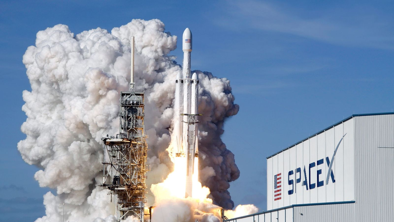 A SpaceX Falcon 9 rocket lifts off from Kennedy Space Center in February 2018.