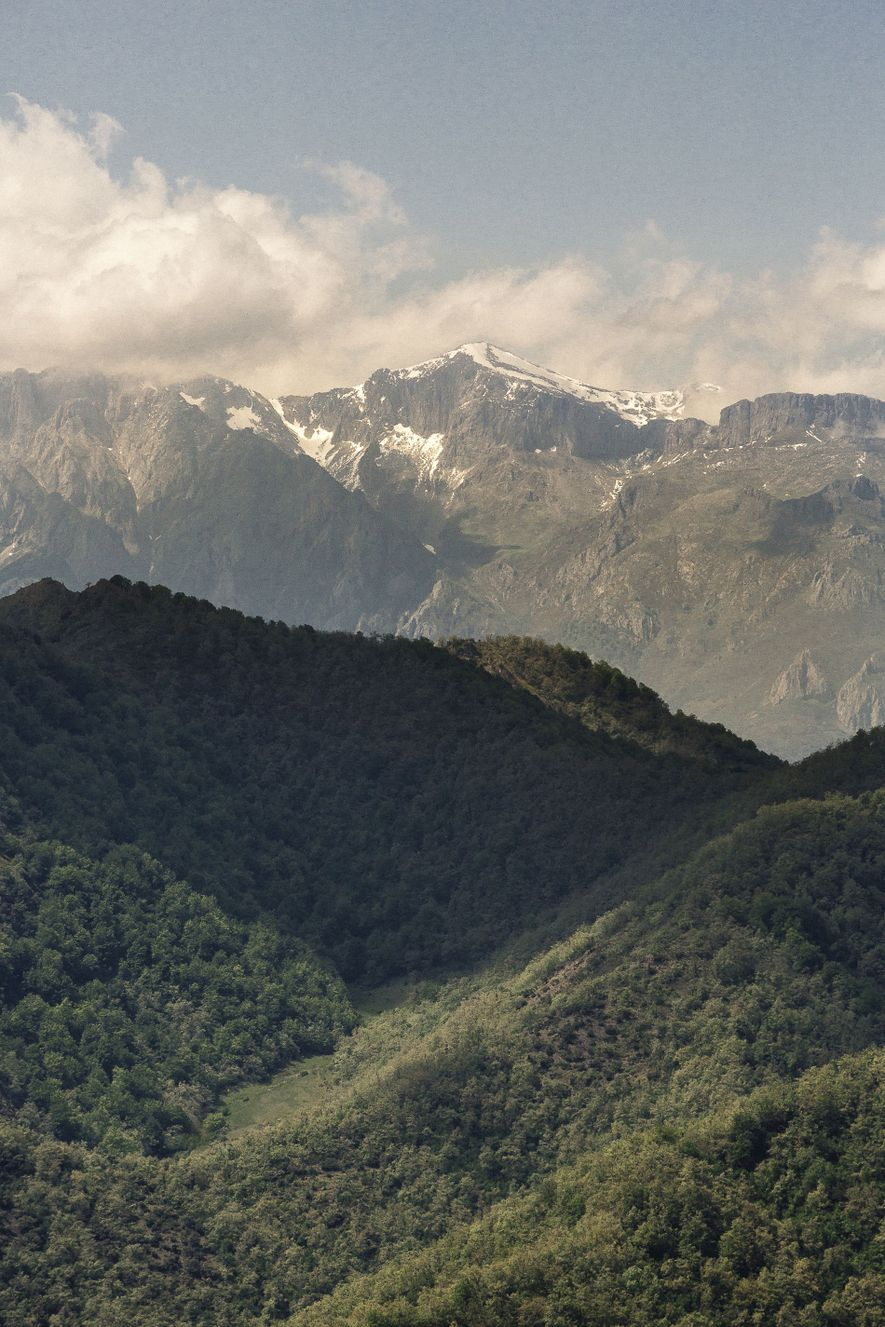View towards Picos de Europa from Mirador del Zorro. The peaks were the first thing European ...