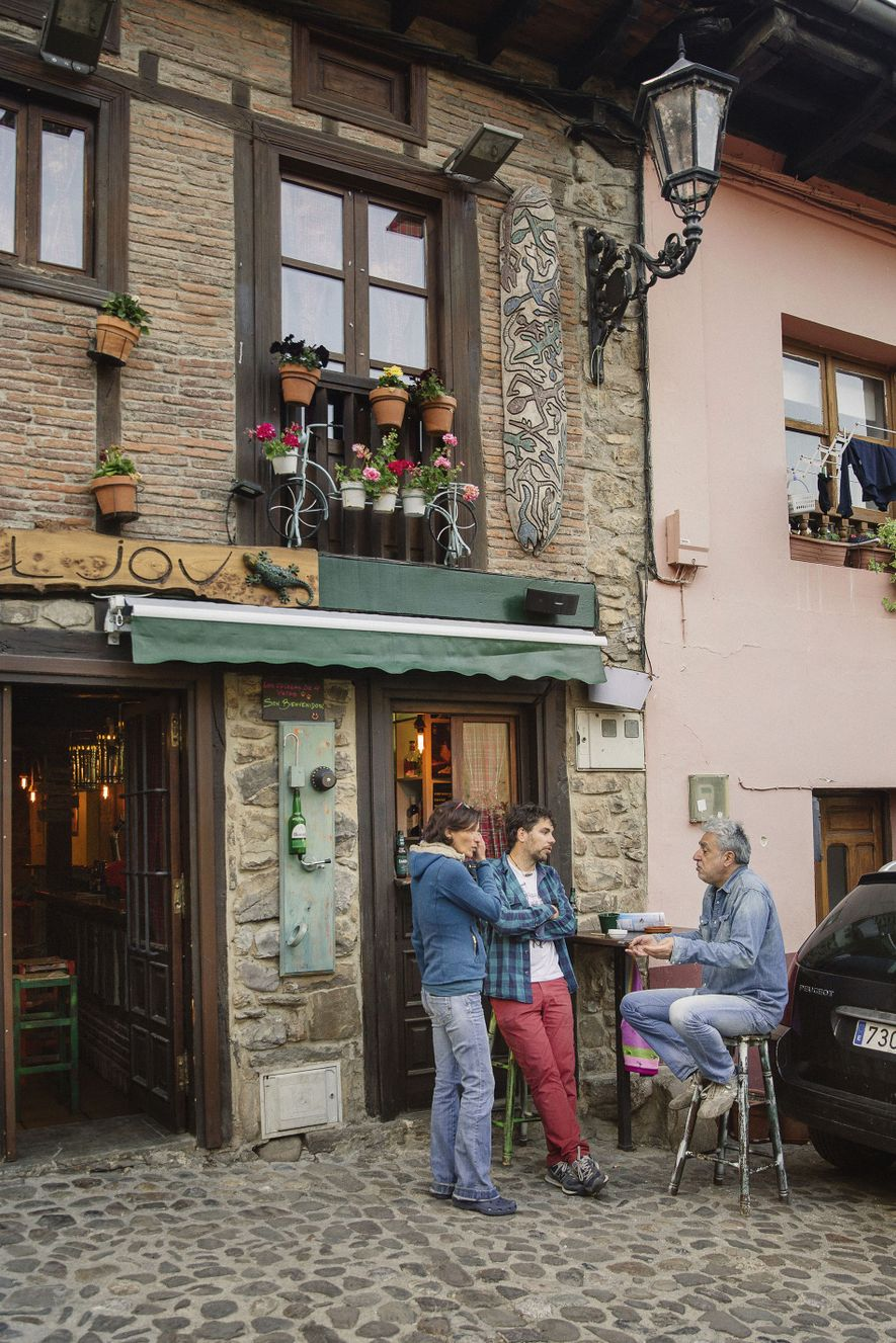 Bar El Jou in Potes, an alpine town with the River Quiviesa running through it. Along ...
