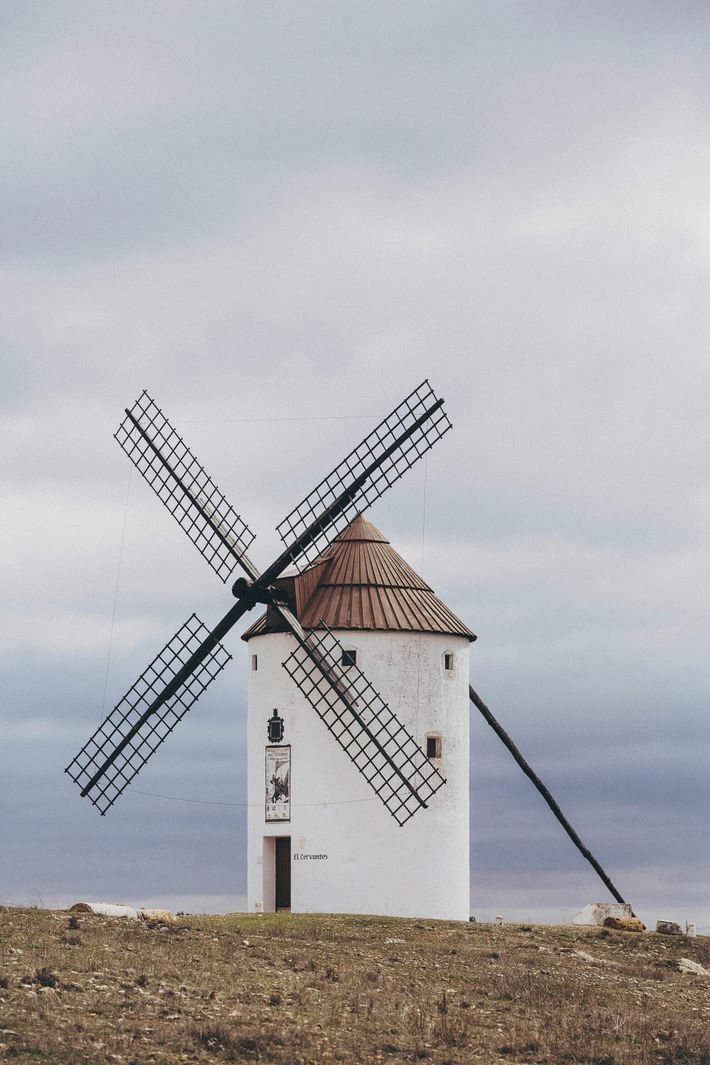 Molino el Cervantes, a windmill located above the town of Mota del Cuervo.