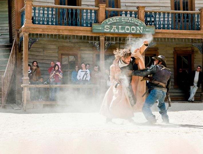 Actors on set in the Tabernas desert in Andalucia, where Italian director Sergio Leone filmed his ...
