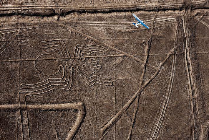 A plane glides over an ancient spider geoglyph in the Peruvian desert.