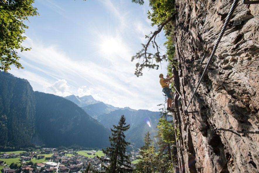 Rock climbing in Zillertal.