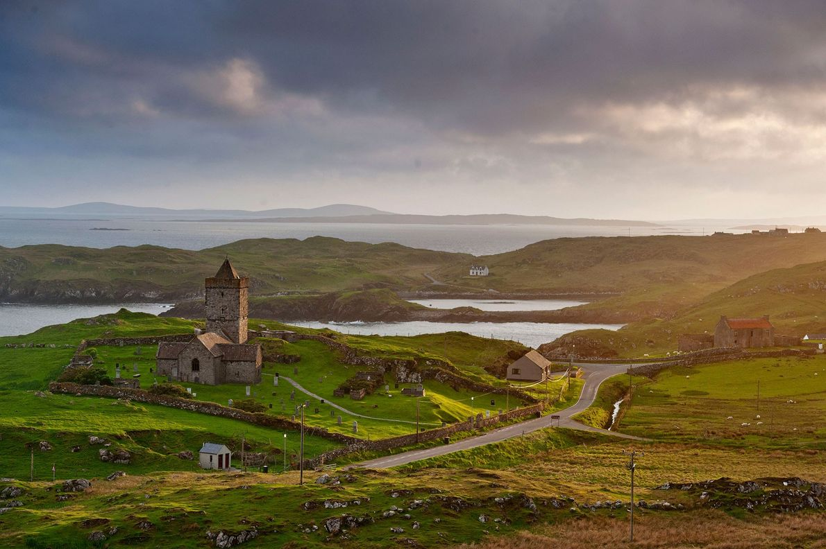 The 15th-century church of Rodel, located in Harris on the Isle of Lewis, was built for ...
