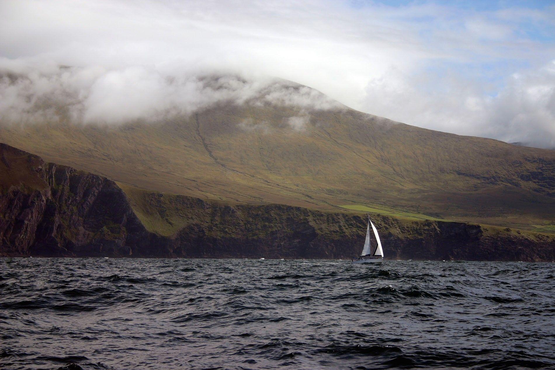 Yacht sailing off Brandon Head, Dingle, Co. Kerry, Ireland