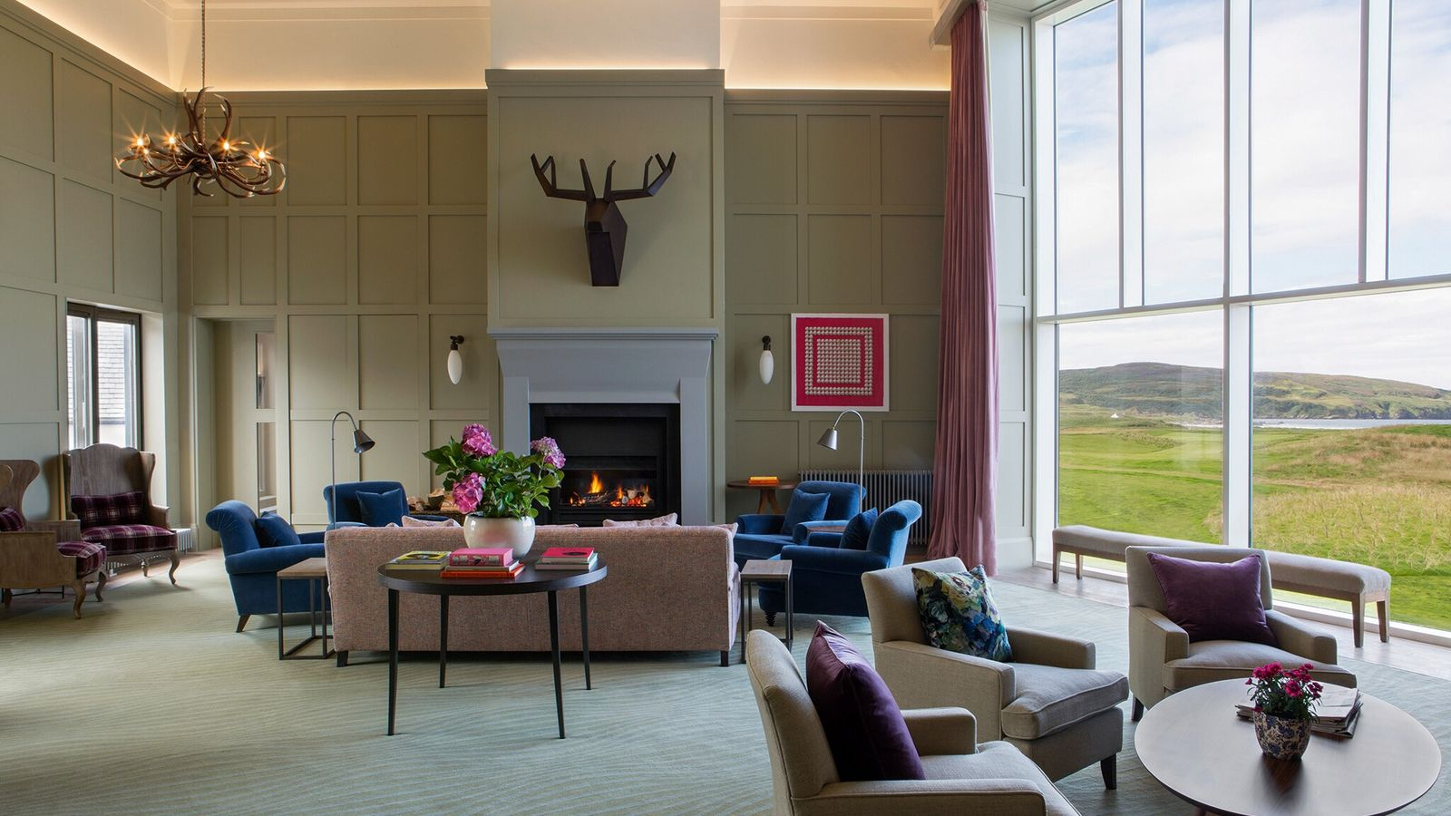 The Stag Lounge at The Machrie, overlooking the links.