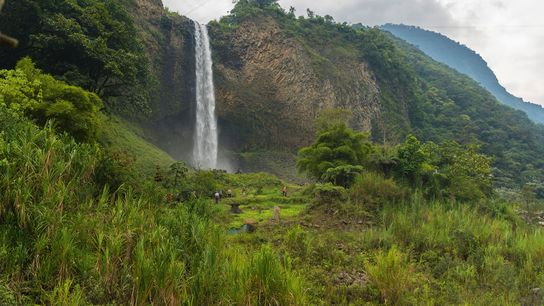 A group hike to the Manto de la Novia waterfall in Banos, Ecuador provides a thrilling ...