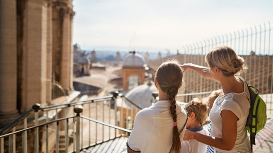 A family exploring Rome and the Vatican.