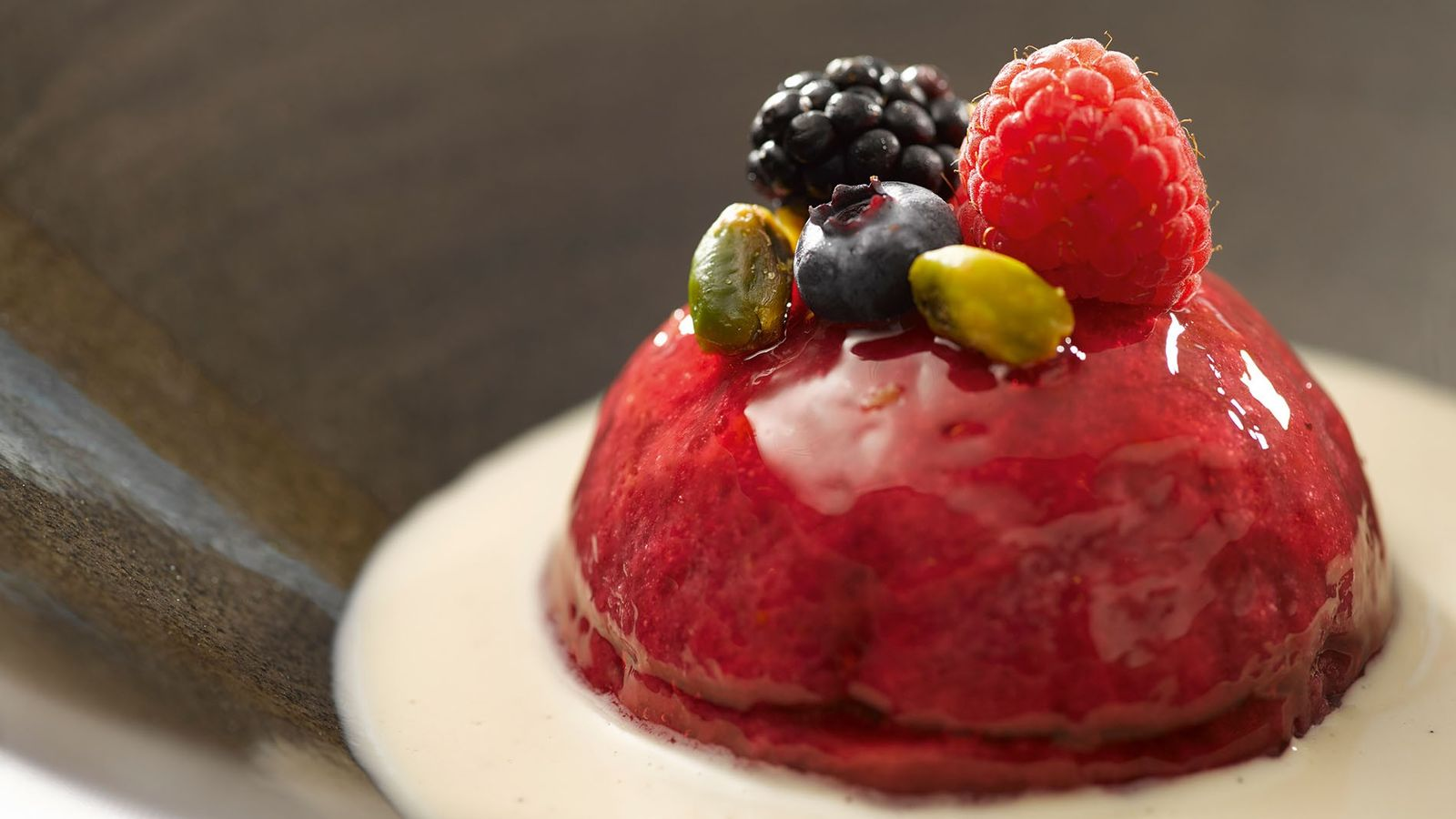 Summer berry pudding.