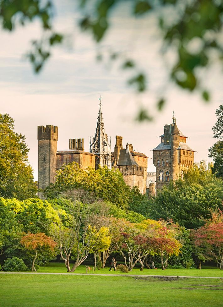 The view of Cardiff Castle from Bute Park.