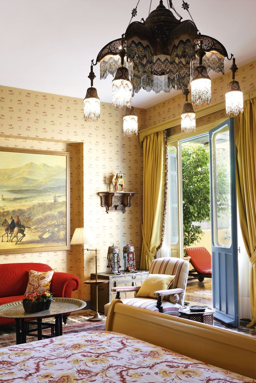 Colourful suite Exécutive at The Albergo, one of Beirut's ritziest grande dame hotels.