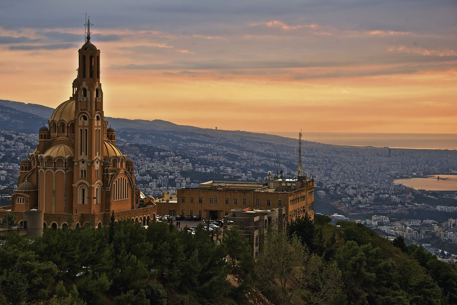 Sunset view of Beirut, the fast-paced capital and largest city of Lebanon, from Harissa village.