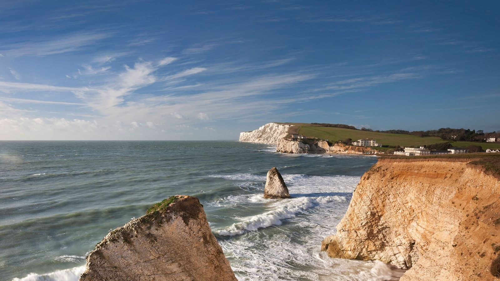 The clifftops over Freshwater Bay on the Isle of Wight provide impressive views of the landscape.