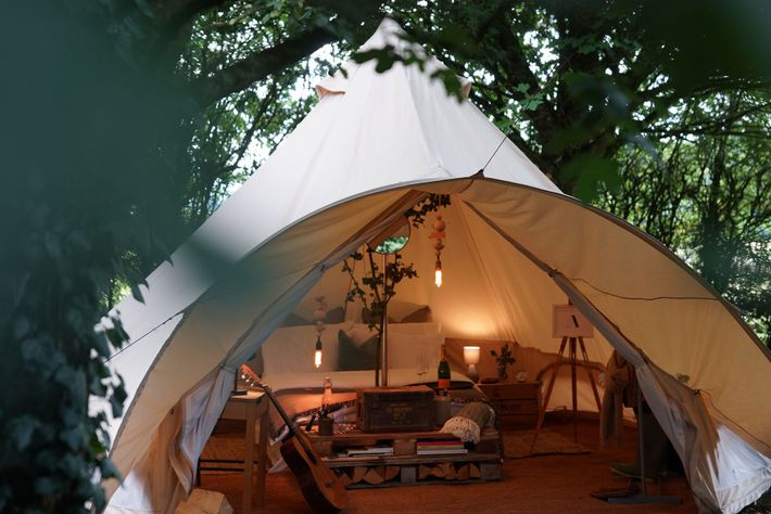 A stay in a luxury bell tent at Marston Park is an ideal way to experience ...