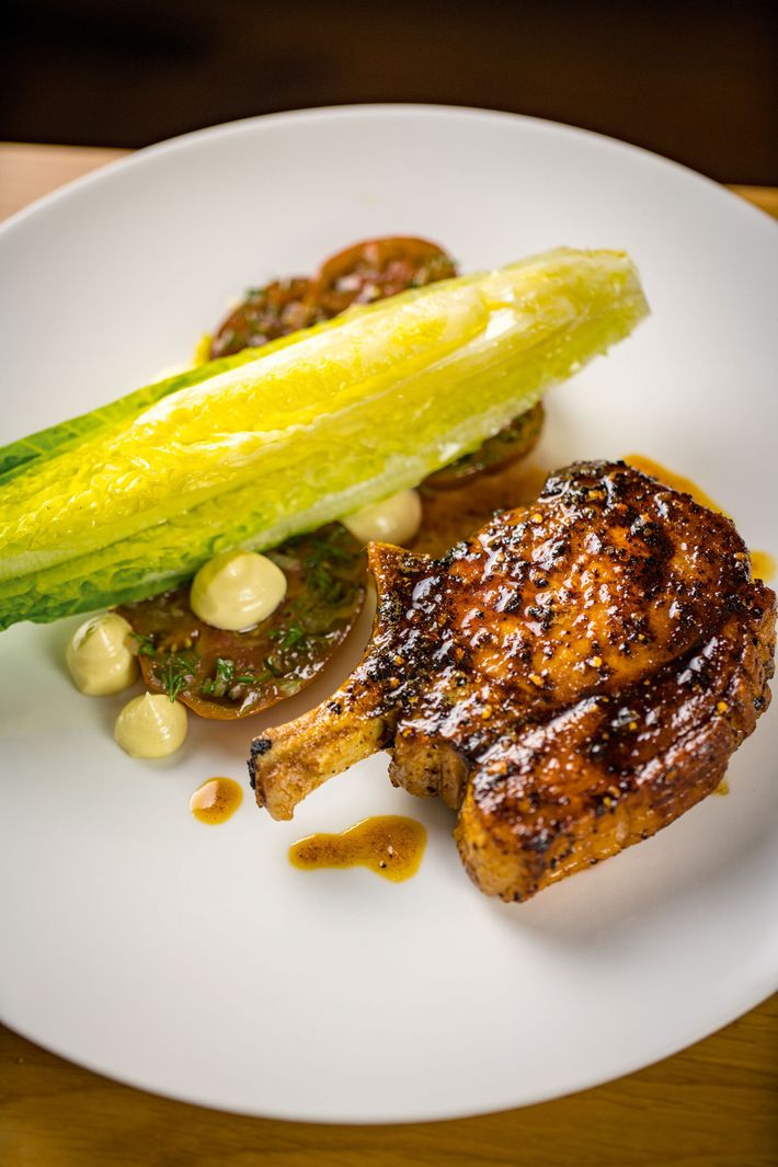 The Blythburgh pork chop is just one of the amazing dishes at the Sticky Walnut.
