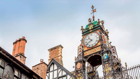 Eastgate Clock in the city centre is one of Chester's most distinctive landmarks.