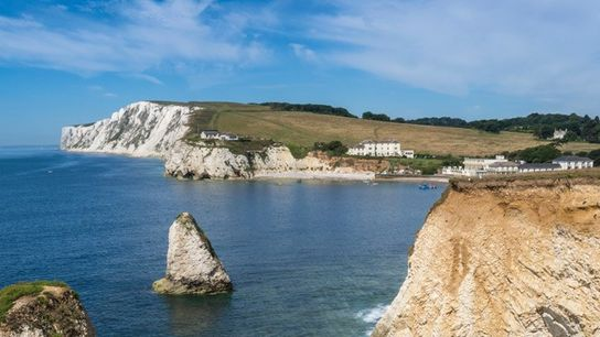 Freshwater Bay and chalk cliffs of Tennyson Down, Isle of Wight