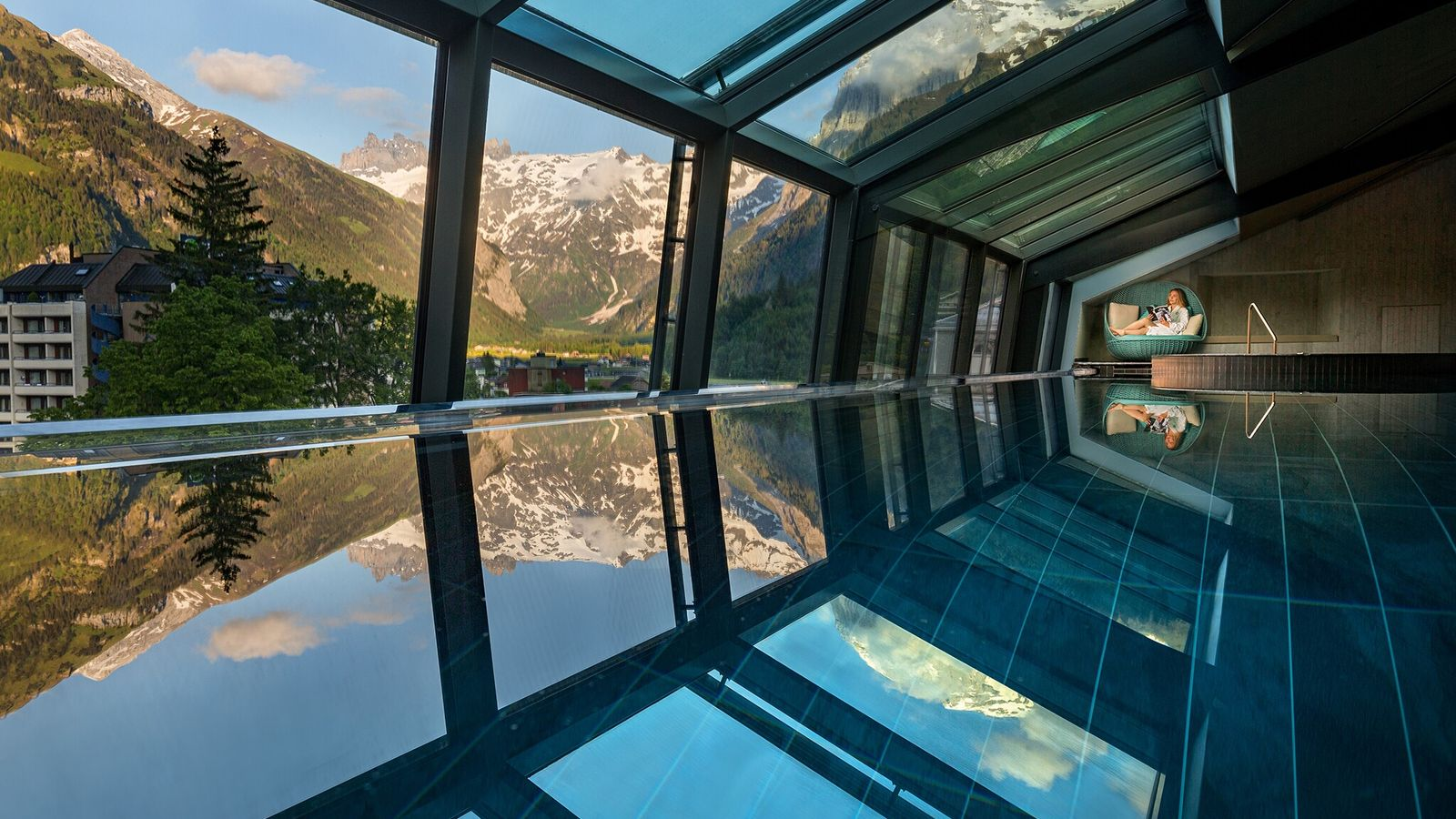 The infinity pool at the Kempinski Palace Engelberg is particularly breathtking.