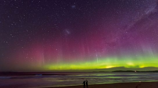 Aurora over a beach in Tasmania