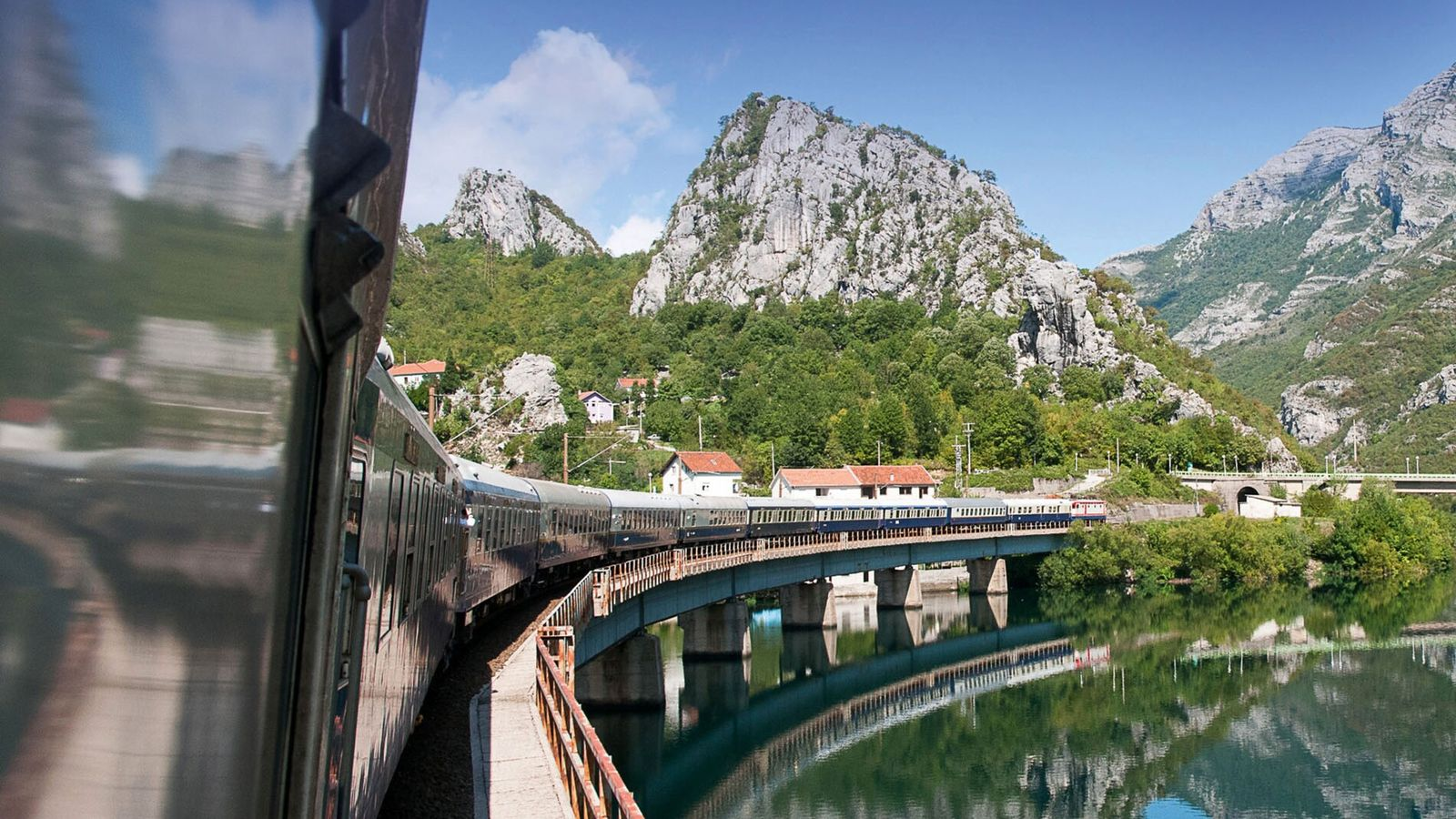 The Golden Eagle Danube Express traces its way through the Bosnian countryside.