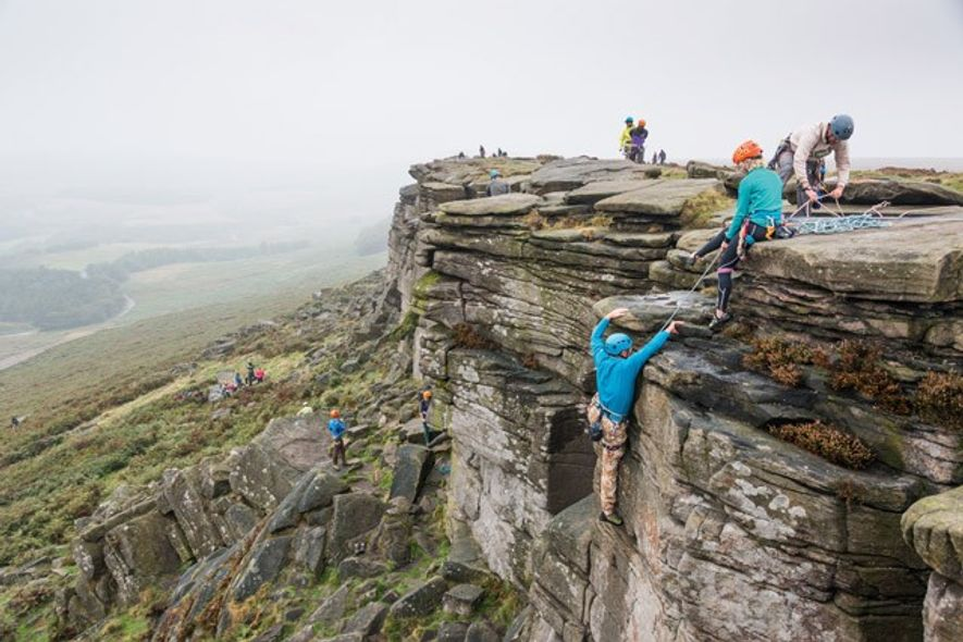 Climbing and abseiling on Stanage Edge. Image: Diana Jarvis