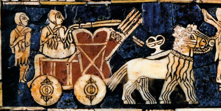 A detail from the Standard of Ur casket depicts a driver of a Sumerian chariot with ...