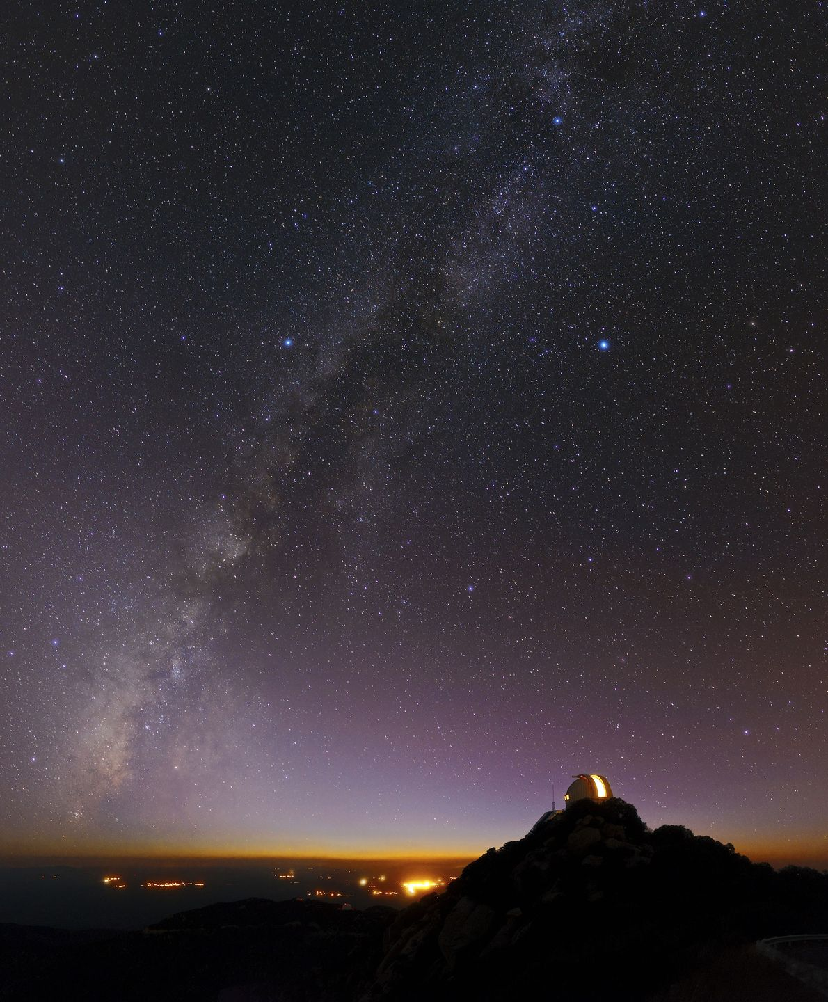 Even with city lights below, the Kitt Peak Observatory in southern Arizona is a good place ...