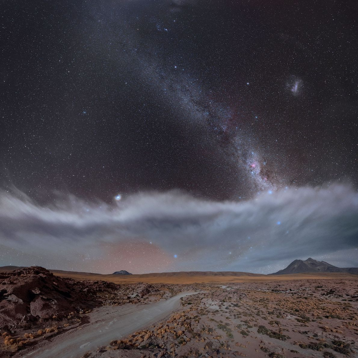 Jupiter can be seen along with the Large Magellanic Cloud near the Miscanti volcano in Chile.