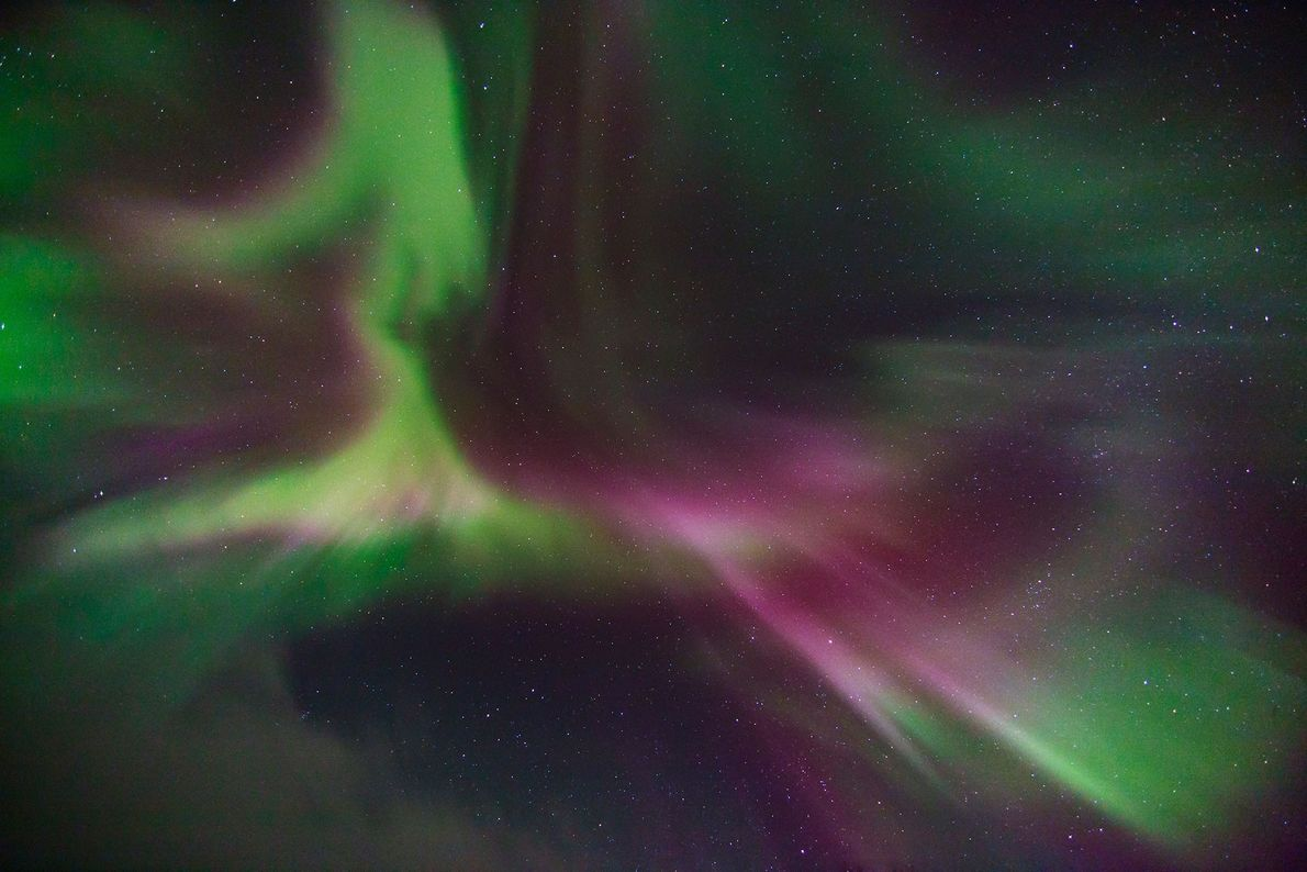 Otherworldly aurora borealis, or northern lights, begin high in the Earth's atmosphere when charged particles from ...