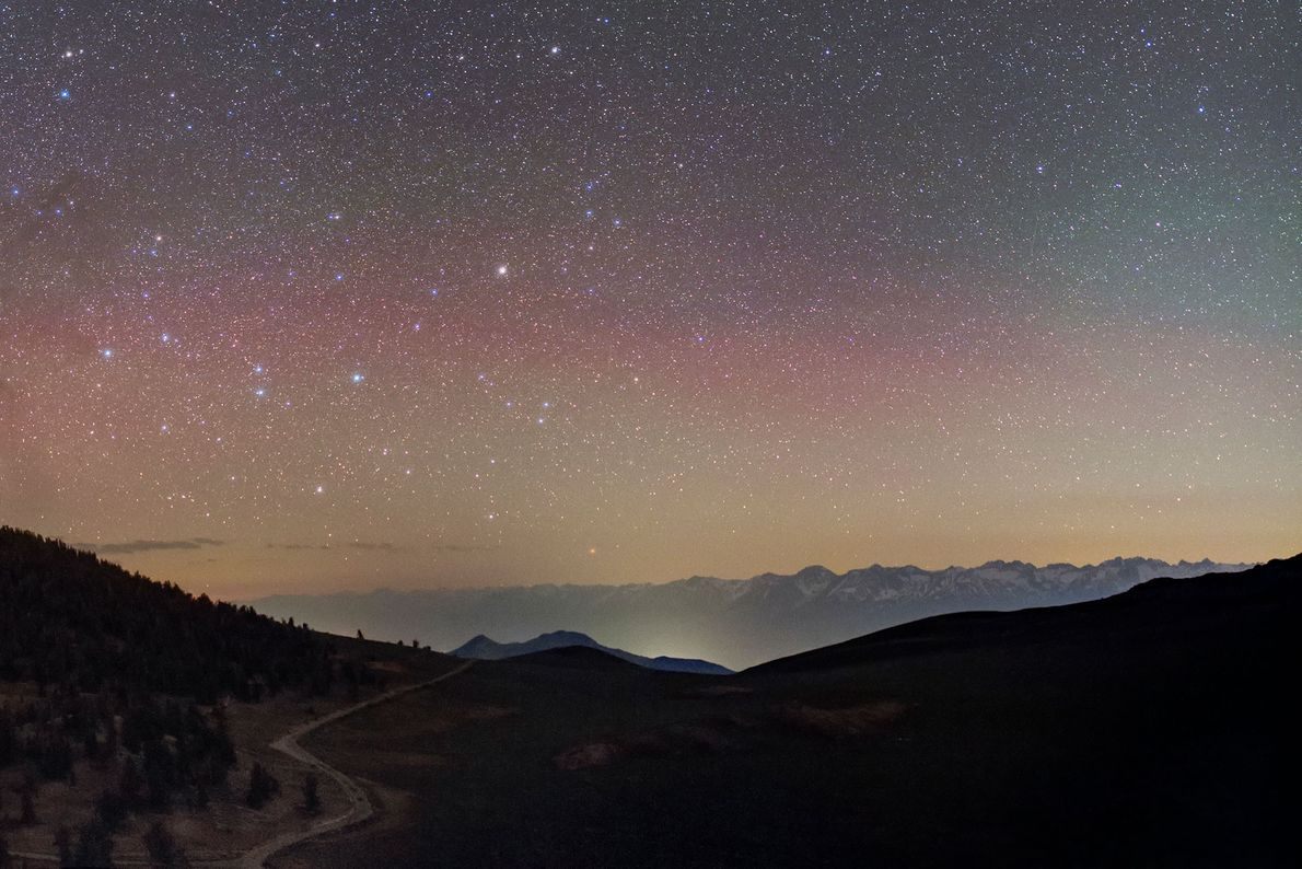 The constellation Centaurus can be spotted above the Sierra mountains in California.