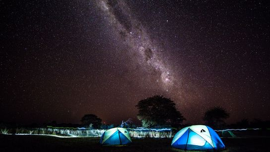 The Milky Way above an expedition campsite in the Okavango Delta.